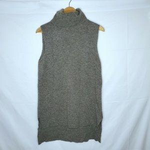 Garnet Hill Gray Sleeveless Turtleneck Tunic Top S